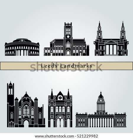 Leeds  landmarks and monuments isolated on blue background in editable vector file