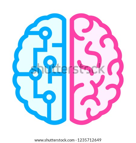 Left and right brain difference icon isolated on white background