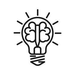 Left and right brain hemispheres in a light bulb. Construction of a thought or idea. Stock vector illustration isolated on white background. Stock vector illustration isolated on white background