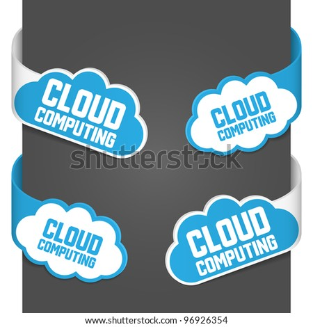 Left and right side signs - Cloud computing. Vector illustration. - stock vector