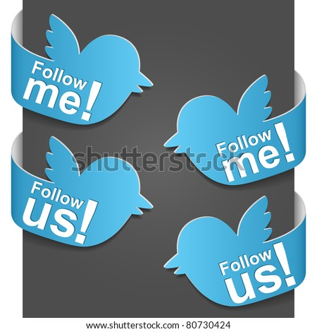 Left and right side signs - Follow me and Follow us. Vector illustration.