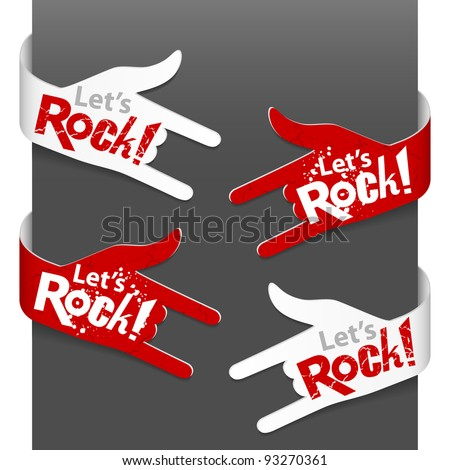 Left and right side signs - Let's Rock!. Vector illustration. - stock vector
