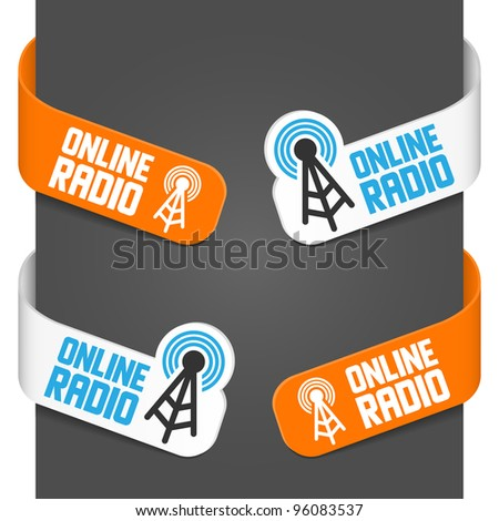 Left and right side signs - Online radio. Vector illustration.