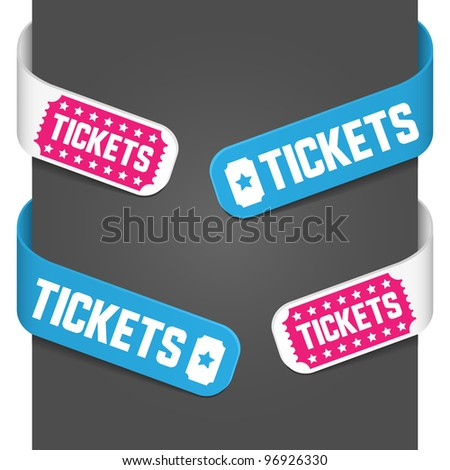 Left and right side signs - Tickets. Vector illustration.