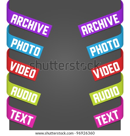 Left and right side signs - Video, Audio, Photo, Text, Archive. Vector illustration.