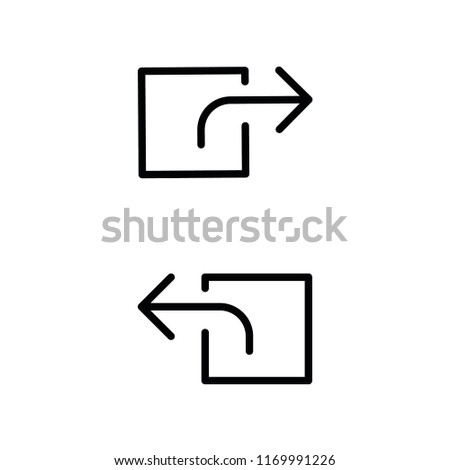 Left And Right Square Arrow Line Icon Set