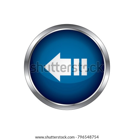 Left arrow glossy icon, Left arrow button isolated.