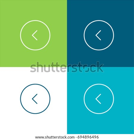 Left arrow green and blue material color minimal icon or logo design