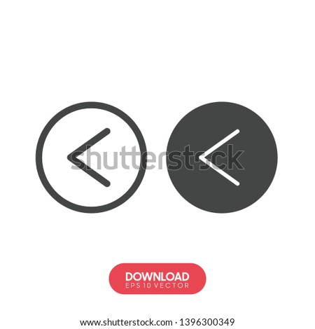 Left arrow icon, Left arrow icon vector, in trendy flat style isolated on white background. Left arrow icon image, Left arrow icon illustration - Vector