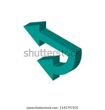 Left arrow isometric right top view 3D icon #1141797101