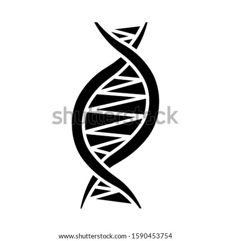 Left-handed DNA helix glyph icon. Z-DNA. Deoxyribonucleic, nucleic acid. Chromosome. Molecular biology. Genetic code. Genetics. Silhouette symbol. Negative space. Vector isolated illustration