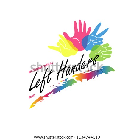 Left Handers Day stylish concept. Vector flat illustration with left palms isolated on white background. Left handers emblem. Colorful hands. Concept of a social holiday August 13.