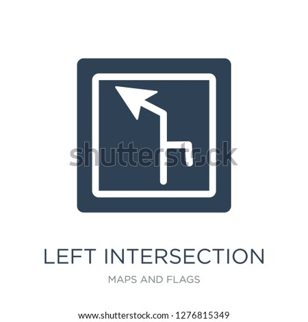 left intersection icon vector on white background, left intersection trendy filled icons from Maps and Flags collection, left intersection vector illustration