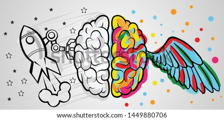 Left right human brain concept. Creative part with colored wings and logic part with one rocket and machines without colors
