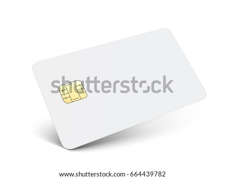left tilt white blank chip card, isolated white background, 3d illustration