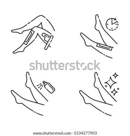 leg waxing linear icons set