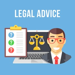 Legal advice. Lawyer, laptop with gold scale icon, clipboard with client questions. Creative flat design concept for website, web banner, infographics, printed materials. Modern vector illustration