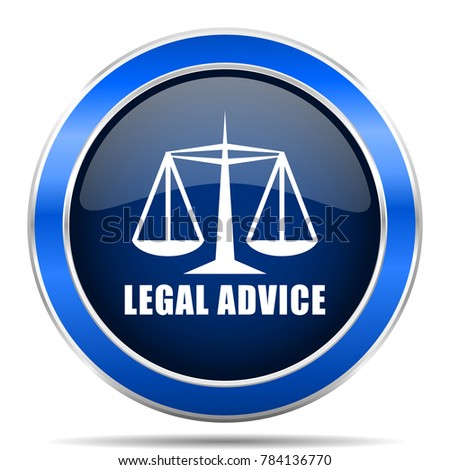 Legal advice vector icon. Modern design blue silver metallic glossy web and mobile applications button in eps 10