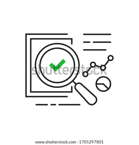 legal compliance or audit assess icon. flat thin stroke trend analitics or assesment logotype graphic design isolated on white. concept of search focus in statement and examine or performance success