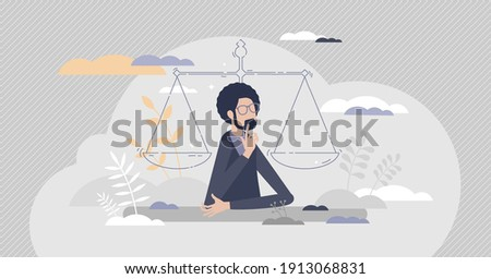 Legal decisions thinking as right law judgment choice tiny person concept. Lawyer strategy confusion and doubt in equal balance situation vector illustration. Justice measurement and analysis symbol.