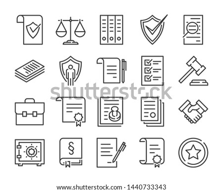 Legal documents icon. Law and justice line icon set. Photo stock ©
