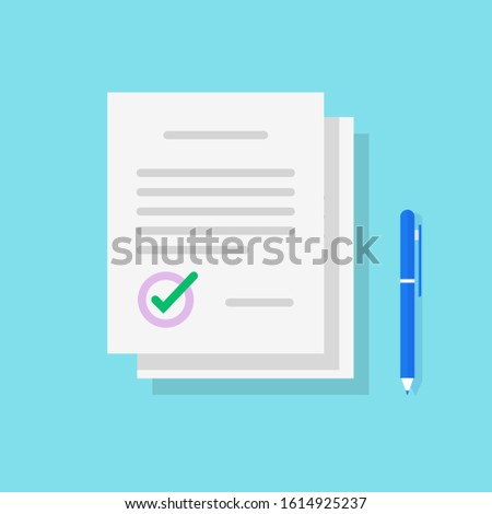 Legal documents pile icon or paper contract stack sign with signature and pen vector flat cartoon, idea of documentation writing, success deal approved isolated