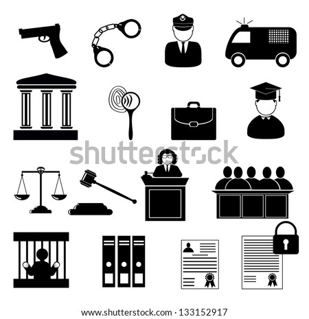 Legal, law and justice icon set. Justice, law and legal icon set