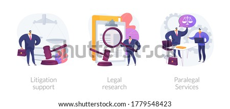 Legal outsourcing abstract concept vector illustration set. Litigation support, legal research, paralegal services, attorney assistant, forensic accounting, law firm, affidavit abstract metaphor.