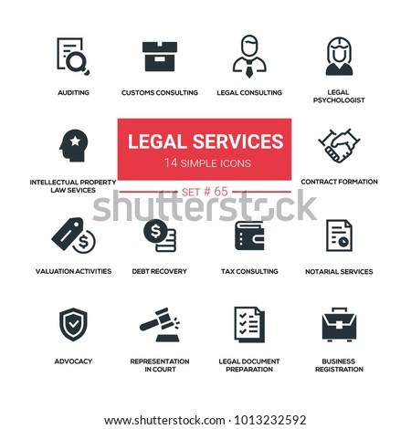 Legal services - line design silhouette icons set. Tax, customs, notarial, auditing, contract formation, valuation activities, debt recovery, intellectual property law, psychologist, advocacy, etc