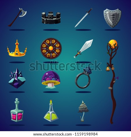 stock-vector-legendary-asset-set-of-magic-items-and-resource-for-computer-fantasy-game-isolated-cartoon-icons