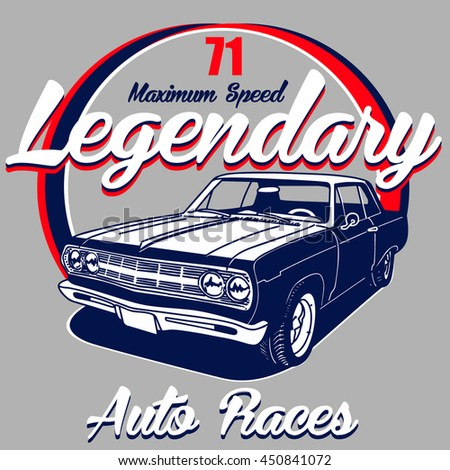 legendary 71 auto races vector