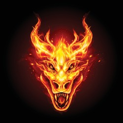 Legendary Fire Dragon Head on the Dark Background. Traditional Chinese Dragon. Fire Creature Logo For Your Product