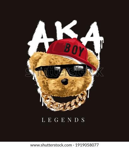 legends slogan with bear doll