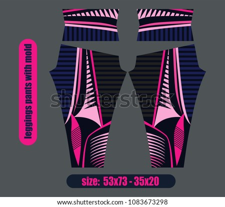 leggings pants fashion illustration vector with mold