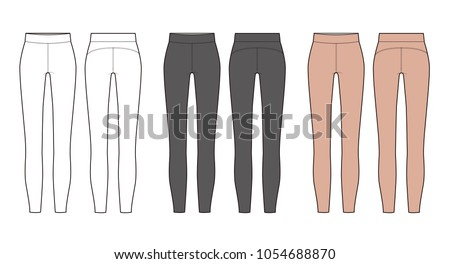 leggings pants fashion vector illustration flat sketches template