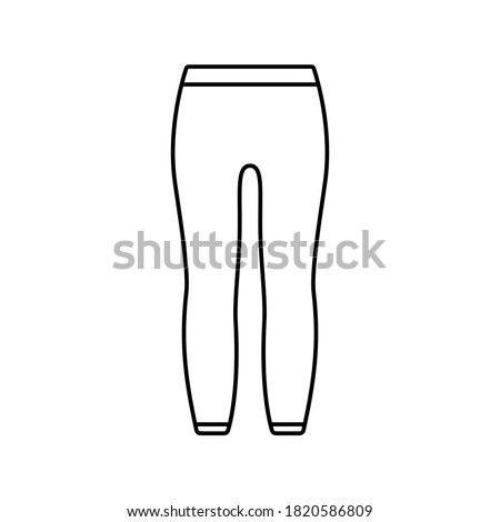 Leggings with elastic at waist and ankles. Linear icon of unisex tight-fitting pants. Black simple illustration of thermal underwear, trousers. Contour isolated vector pictogram, white background Stock photo ©