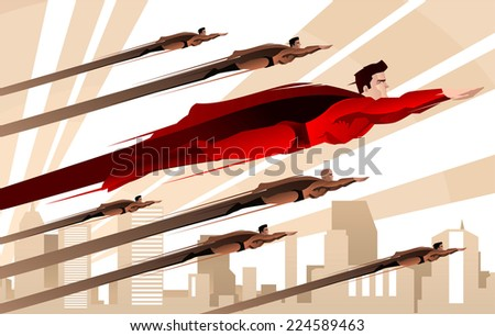 stock vector legion of superheroes flying over city background to the rescue over the city vector illustration 224589463 - Каталог — Фотообои «Для детской»