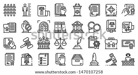 Legislation icons set. Outline set of legislation vector icons for web design isolated on white background Photo stock ©
