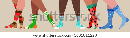Legs and trendy socks. Variety of female and male cotton colorful long and short socks. Modern sock collection for special occasion. Hand drawn vector illustration for web banner, page header design.