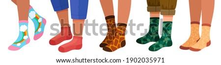 Legs in socks. Women and men leg in trendy sock pairs with pattern and texture. Flat cartoon female feets in stylish warm socks vector set. Illustration man women leg in socks fashionable