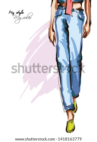 Legs of a beautiful young woman in blue denim pants. Hand drawn fashion girl. Fashion model posing. Sketch. Vector illustration. Defile