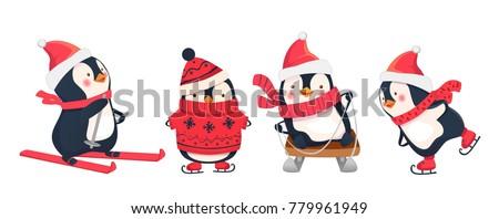 Stock Photo Leisure activities in winter. Winter sports illustration. Penguin