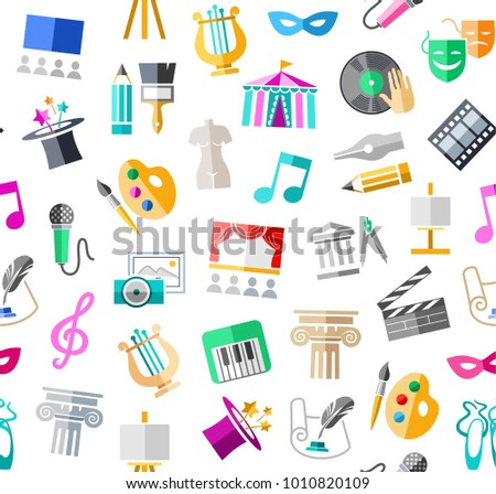 Leisure and cultural centres. Cultural events and the attributes of art. Colored icons on a white field. Vector picture.