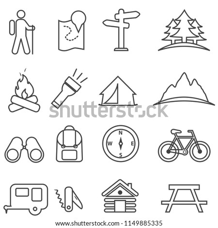 Leisure, camping, recreation and outdoor activities line icon set
