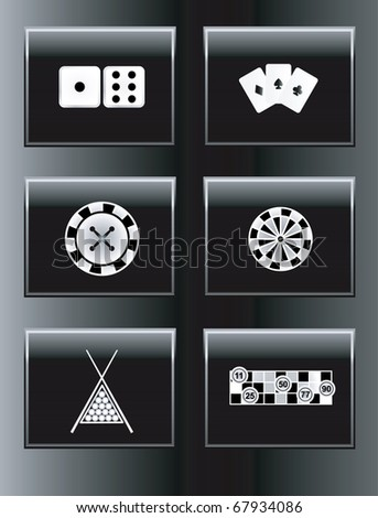 Leisure games icons set. Vector illustration.