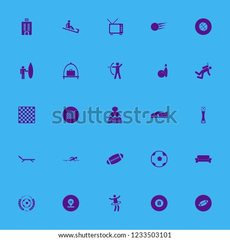 leisure icon. leisure vector icons set archer, sofa, man riding sleigh and diver