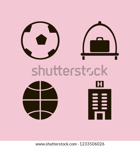 leisure icon. leisure vector icons set baggage cart, basketball ball, hotel building and soccer ball