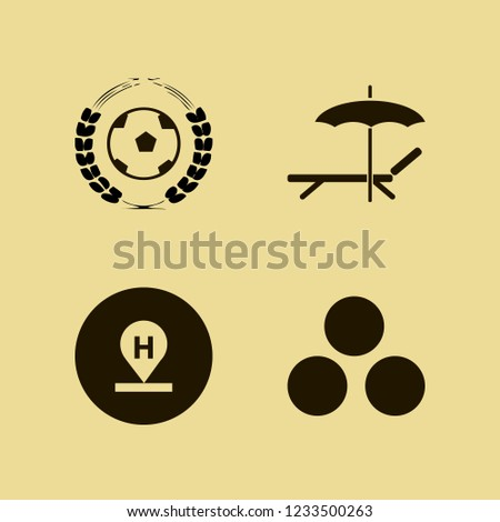leisure icon. leisure vector icons set hotel location, chaise lounge umbrella, football game and snowballs