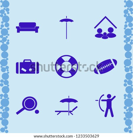 leisure icon. leisure vector icons set lifebuoy, beach umbrella, sofa and ping pong