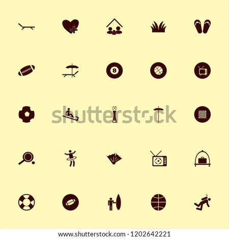 leisure icon. leisure vector icons set rugby ball, football cup, family home and beach umbrella